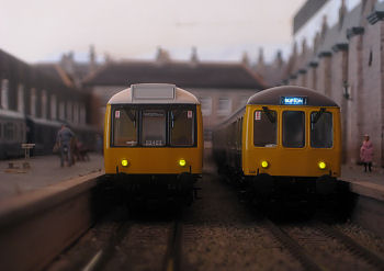 Two Bachmann 108's await departure at Sandley.